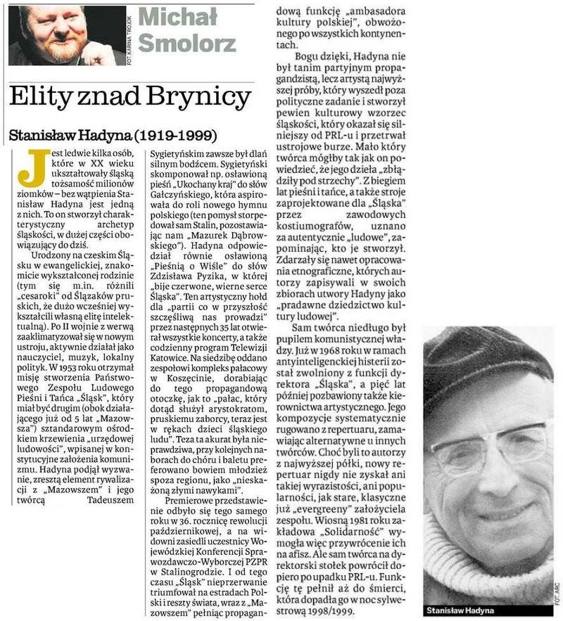 Elity znad Brynicy - Stanisław Hadyna - Dziennik Zachodni