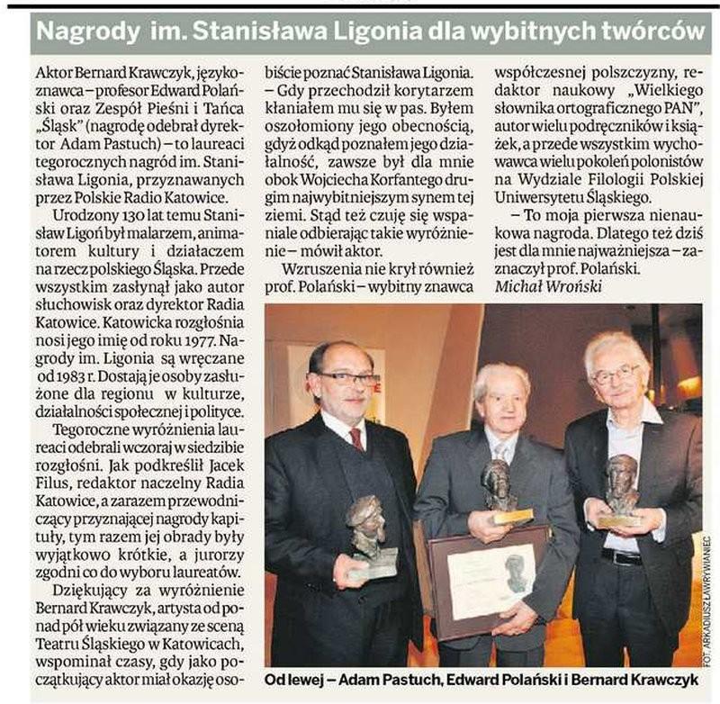 Nagrody im. Ligonia dla wybitnych twórców - Dziennik Zachodni