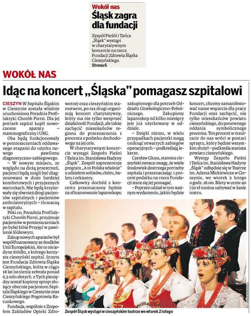 Idąc na koncert Śląska pomagasz szpitalowi - Dziennik Zachodni Cieszyn